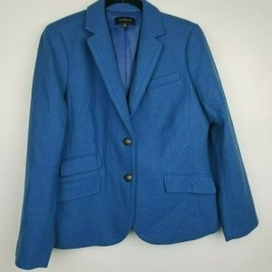 Talbots 14 blue teal wool blend career blazer